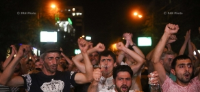 Protest march in support of the armed group, that seized a patrol regiment in Yerevan. Day 11