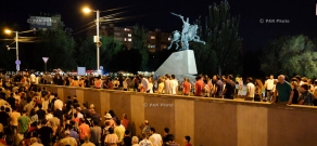 Protest march in support of the armed group, that seized a patrol regiment in Yerevan. Day 13