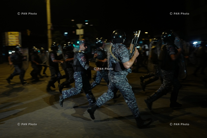 Gunmen supporters' rally is disperseed by the police with the use of tear gas and stun grenades