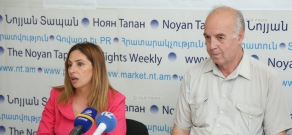 Press conference of Heritage party's parliamentary group deputy Zaruhi Postanjyan and the author of Armenian Heliofication Project Vahan Hamazaspyan