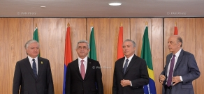 Armenian president Serzh Sargsyan meets with the Acting President of Brazil Michel Temer