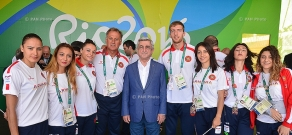 In Rio de Janeiro Armenian president Serzh Sargsyan meets with the athletes representing Armenia at the 31st Olympic Games