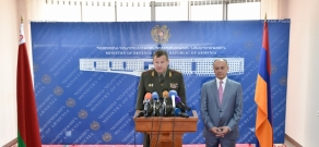 Press conference by  Defense Ministers of Armenia and Belarus Seyran Ohanyan and Andrei Ravkov