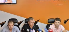 Press conference of Armenian gymnastics team head coach Hakob Serobyan and gymnasts Harutyun Merdinyan, Hakob Davtyan