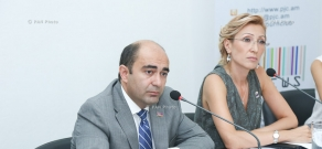 Press conference by Council Head of Bright Armenia Party Edmon Marukyan and Council Secretary Mane Tandilyan