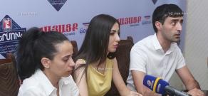 Press conference by 'Sasna Tsrer' member Hovhannes Harutyunyan's defenders Hayarpi Sargsyan, Ara Gharagyozyan and Tamara Harutyunyan