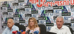 Press conference of ex-director of the Nairit Plant, Karen Israelyan, engineer Karine Shahverdyan and head of the department for the production of caoutchouc Gagik Avetisyan