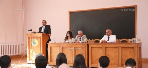 Armenian Minister of Economy Artsvik Minasyan attends ceremony dedicated to the start of a new academic year