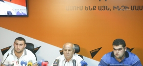 Press conference by vice-champions – weightlifters Simon Martirosyan, Gor Minasyan and head coach for the men's weightlifting team of Armenia Pashik Alaverdyan