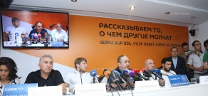 Press conference by Armenia's Greco-Roman wrestling team members