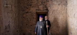 Catholicos of All Armenians Karekin II and members of Supreme Spiritual Council visit Artsakh's Dadivank monastery