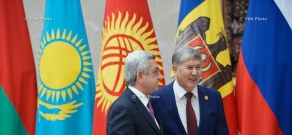 President Serzh Sargsyan participates at the meeting of the Council of the CIS Heads of State in Bishkek