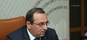 Press conference of Armenia's acting Economy Minister Artsvik Minasyan