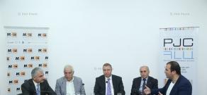 Discussion with the participation of Mikael Melkumyan, Atom Margaryan, Vahan Khachatryan and Gagik Makaryan