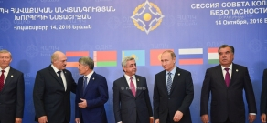 Heads of delegations participating in CSTO Collective Security Council are greeted at RA Presidential Palace