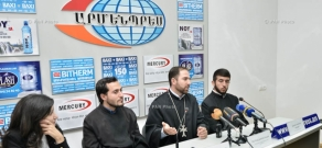 Press conference of spiritual leader of Yerevan Garrison and 5th Army Corps father Yenovk Ter-Yesayan and religious servants of N military unit, deacons Hovhannes Galstyan and Narek Petrosyan