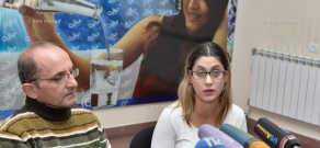 Press conference by Syrian-Armenians Zhan Galstyan and Gohar Galsyan